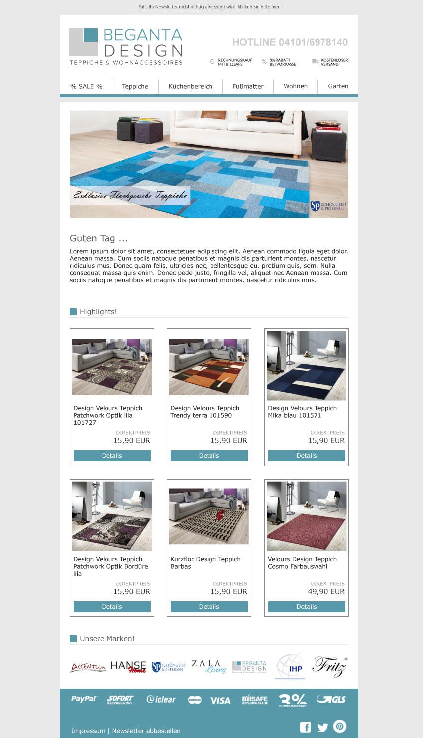 Newsletter Begeta - Versione desktop