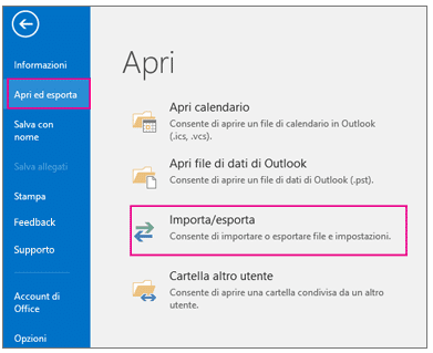 outlook 2013-16 esportare contatti Newsletter2Go