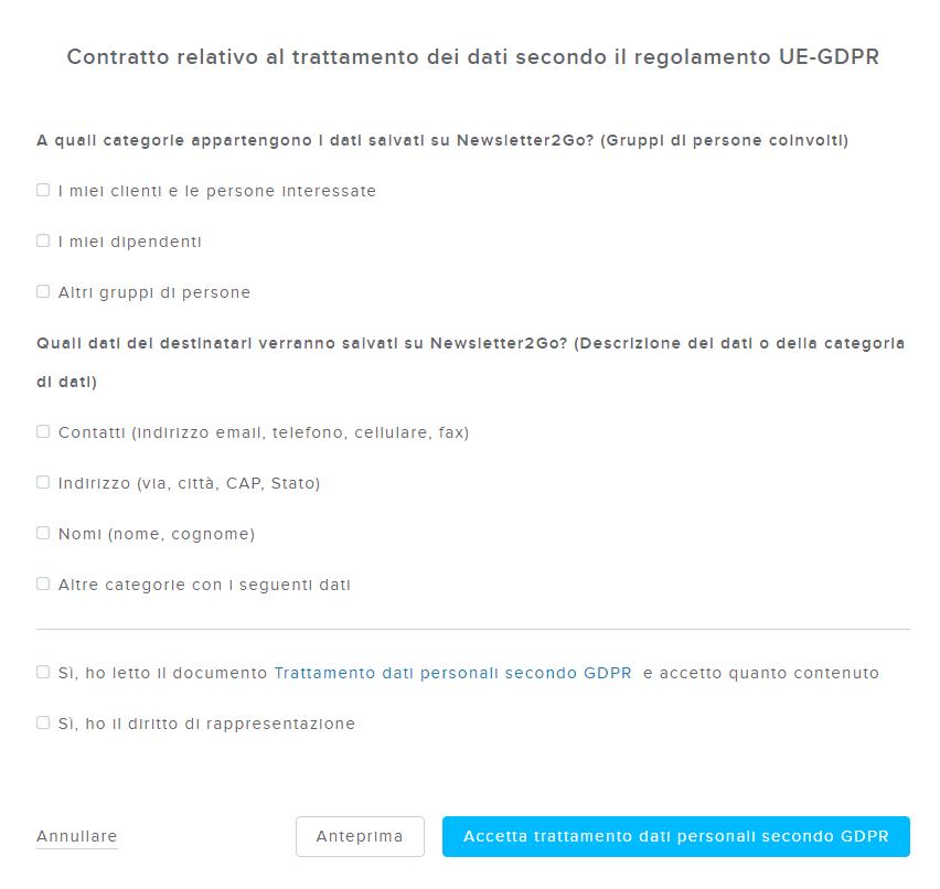 Modulo trattamento dati gdpr Newsletter2Go